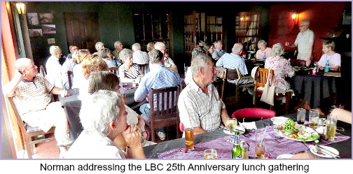 Norman Elwell addressing LBC AT 25th Anniversary lunch