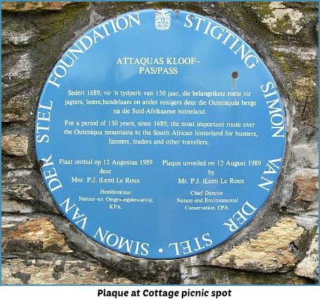 Attaquas Kloof Pass Plaque