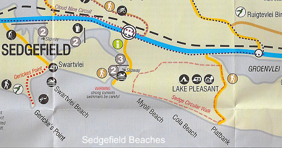Sedgefield Beaches map