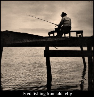 Fred fishing on the pier