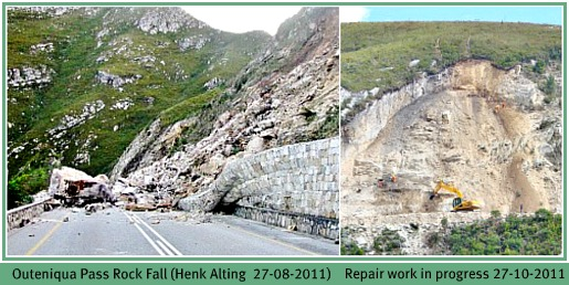 Rock fall on Outeniqua Pass