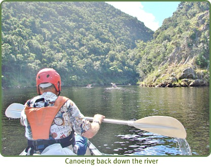 Canoing up Keurbooms River