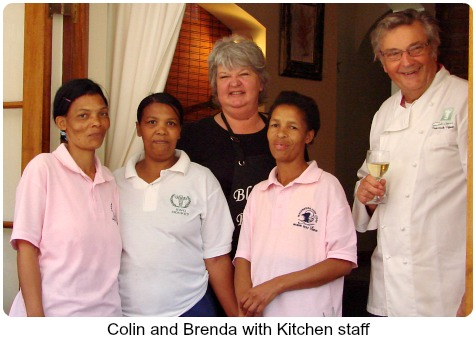 Brenda and Colin with Blackwater Lodge kitchen staf