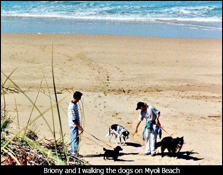 Martin and Briony walking their dogs on Myoli Beach