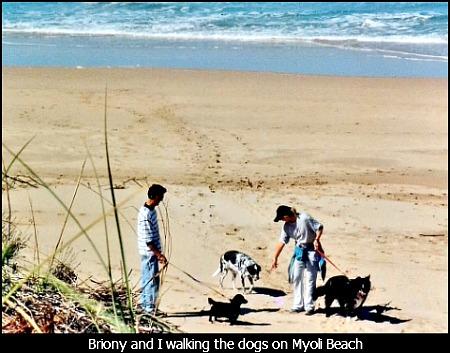 Martin and Briony walking their dogs on Myoli Beach