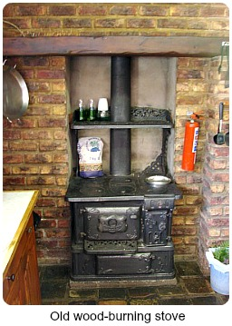 Wood burning stove in the kitche
