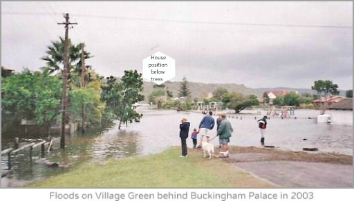 2003 floods cover Village green
