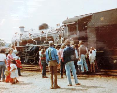 Inspecting the loco of the Outeniqua Choo-choo