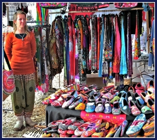 House slippers and hand-made clothing stall at the Mosaic Market