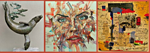 Knysna Art Festival exhibits -paintings and sculpture
