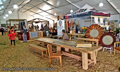 Indoor displays at he Knysna Timber Festival