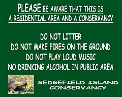Sedge Island Conservancy sign