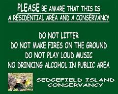 Sedge Island Conservancy sign