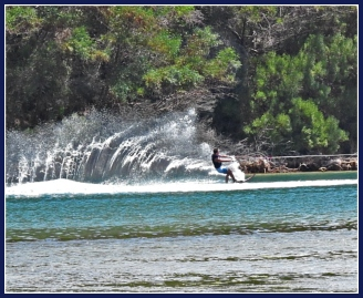 Water-skiing at Monkey Beach on the Swartvlei Estuary