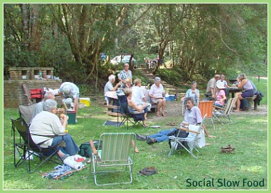 Social outdoor lunch of a local walking group at Jubilee Creek.