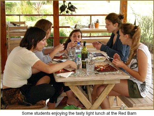 Gastronomic Students lunching at Red Barn, Rheenendal