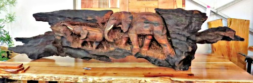 Amazing wooden elephant sculpture carved from a wooden remnant of the June 2017 wildfires.