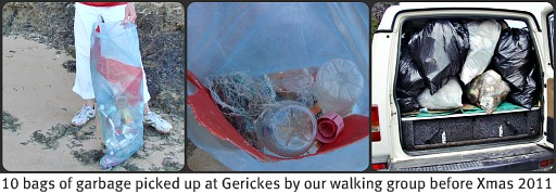 Garbage collected along the roadside to Gerickes