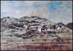 Reedon Rodway's water colour of Urban's beach cottages