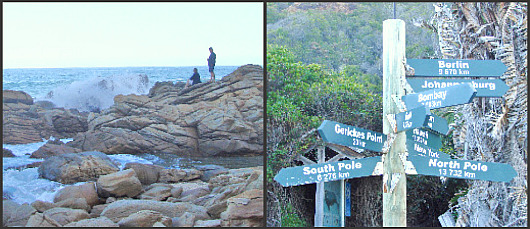 Rocks and sign at end of Victoria Bay road