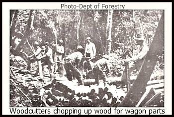 Logs being cut up into wagon component