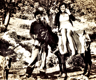 Auriel on a donkey ride in Cyprus