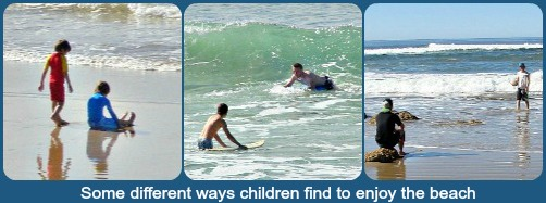Kids having fun on Buffalo Bay beach