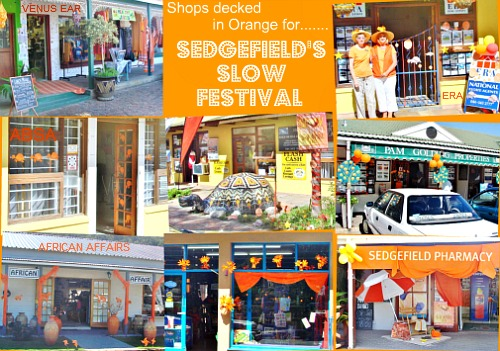 Local shops decorated for the Slowfest