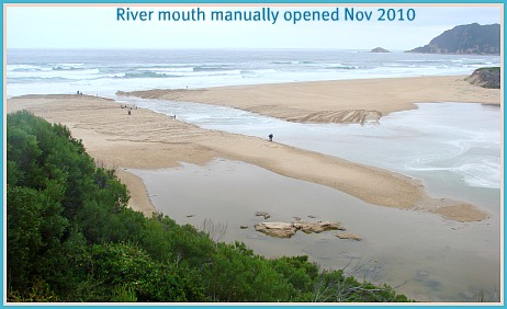 Opening river mouth manually