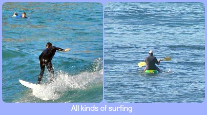 Surfing and canoeing in Buffalo Bay